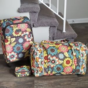 Vera Bradley Brown Flower Shower 3pc. Luggage Set